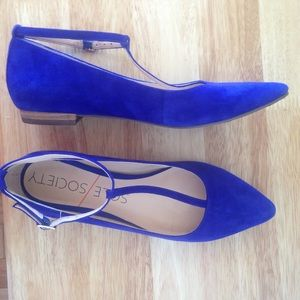 Sole Society Blue Suede Ivy T-strap Flats 6.5